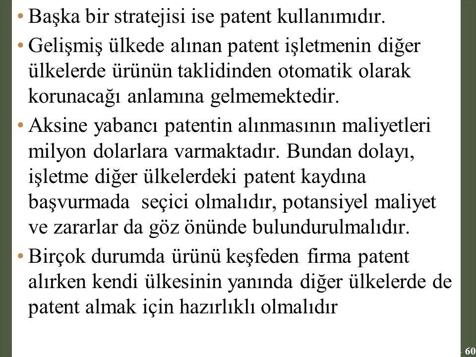 Başka bir stratejisi ise patent kullanımıdır.