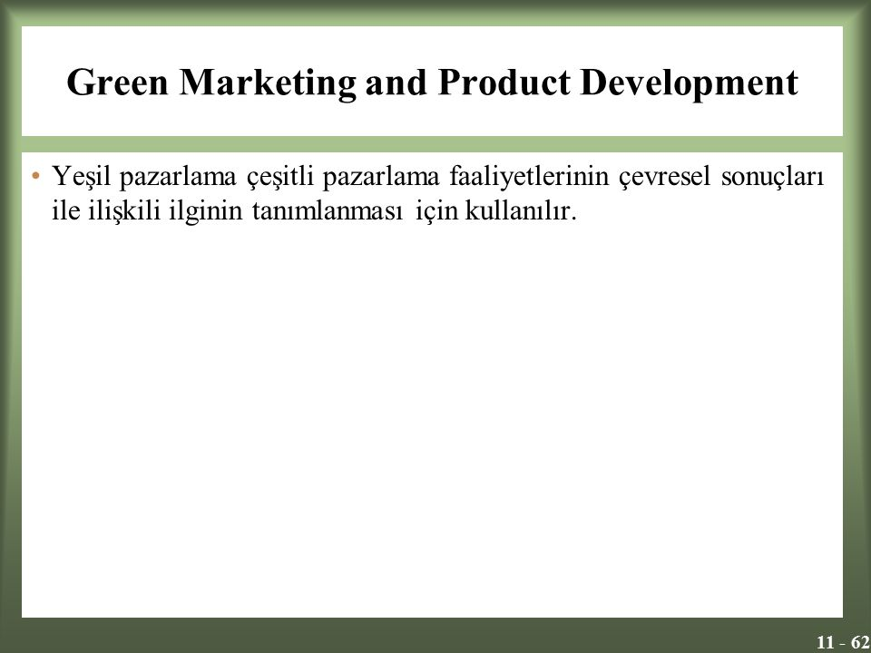 Green Marketing and Product Development