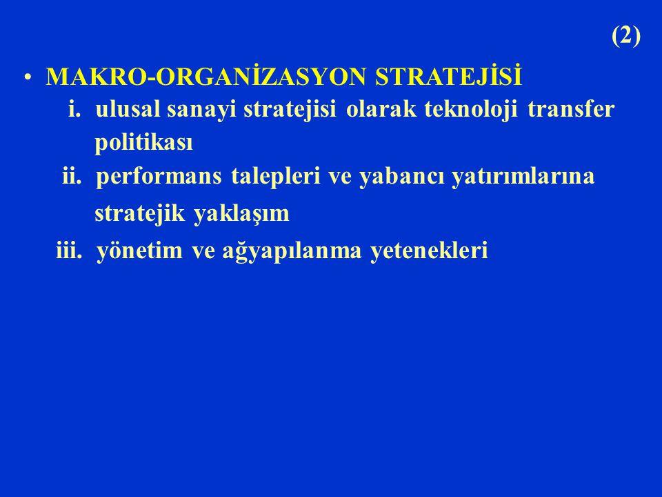 (2) MAKRO-ORGANİZASYON STRATEJİSİ. i. ulusal sanayi stratejisi olarak teknoloji transfer. politikası.