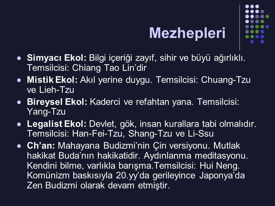 Mezhepleri Simyacı Ekol: Bilgi içeriği zayıf, sihir ve büyü ağırlıklı. Temsilcisi: Chiang Tao Lin'dir.