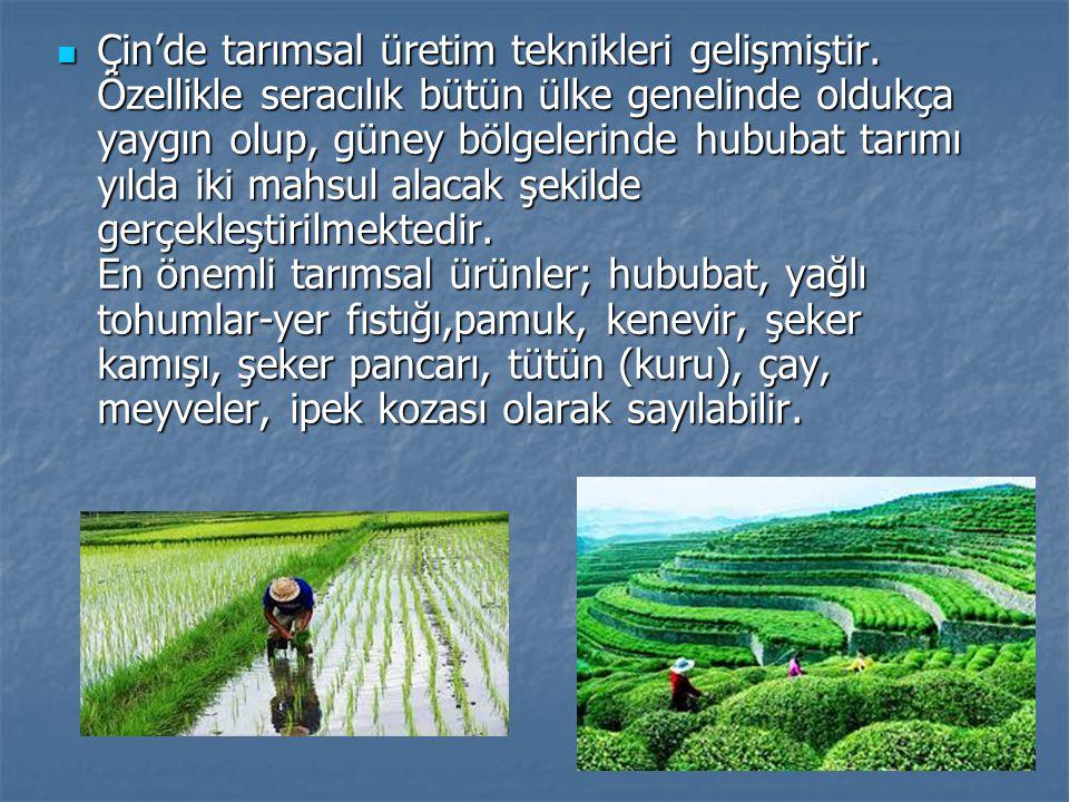 Çin'de tarımsal üretim teknikleri gelişmiştir