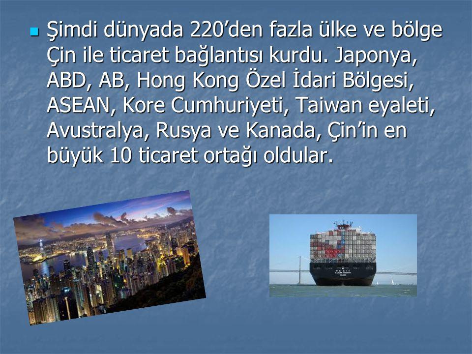 Şimdi dünyada 220'den fazla ülke ve bölge Çin ile ticaret bağlantısı kurdu.