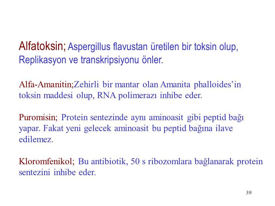 Alfatoksin; Aspergillus flavustan üretilen bir toksin olup, Replikasyon ve transkripsiyonu önler.