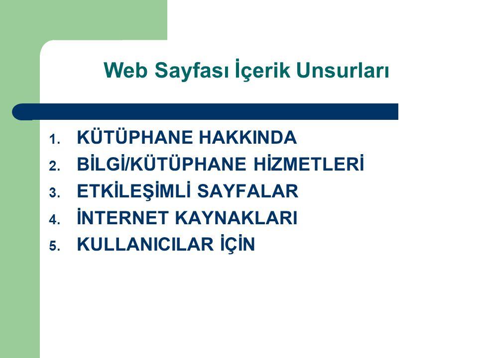 Web Sayfası İçerik Unsurları
