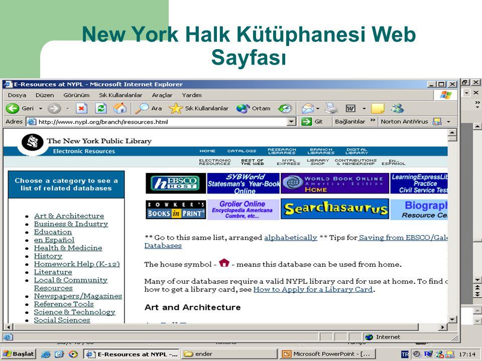 New York Halk Kütüphanesi Web Sayfası