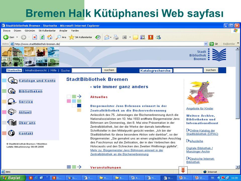 Bremen Halk Kütüphanesi Web sayfası