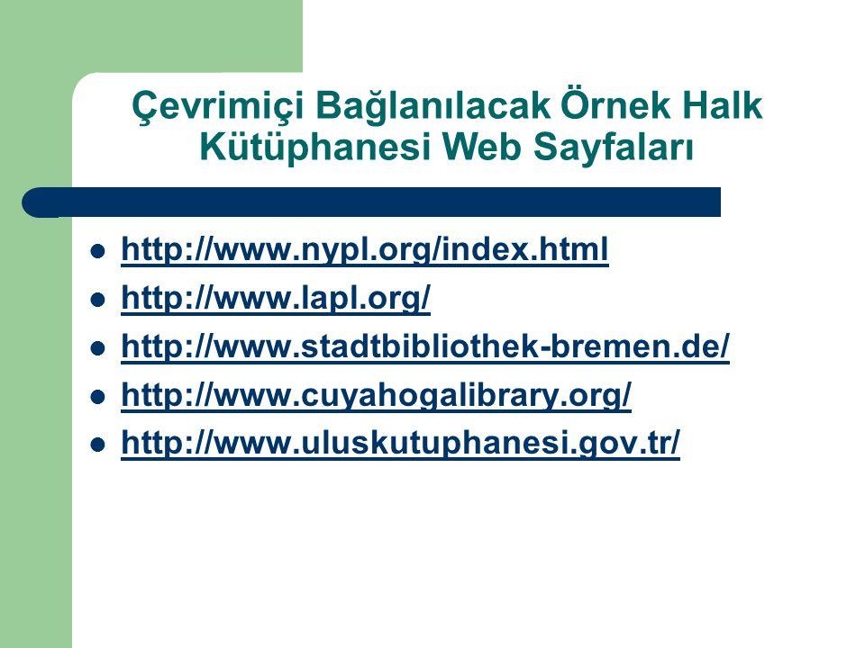 Çevrimiçi Bağlanılacak Örnek Halk Kütüphanesi Web Sayfaları