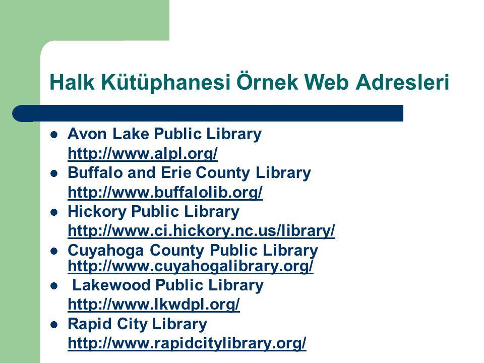 Halk Kütüphanesi Örnek Web Adresleri