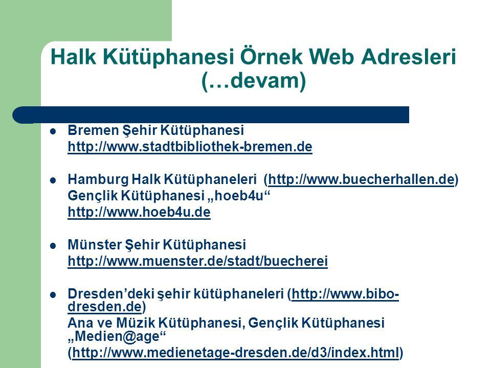 Halk Kütüphanesi Örnek Web Adresleri (…devam)