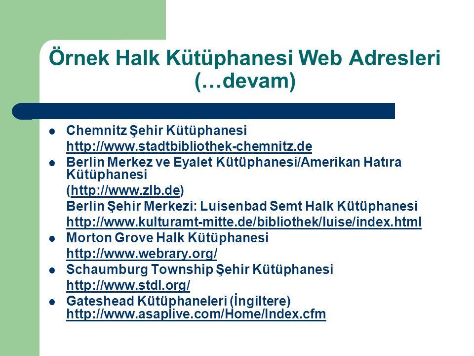 Örnek Halk Kütüphanesi Web Adresleri (…devam)