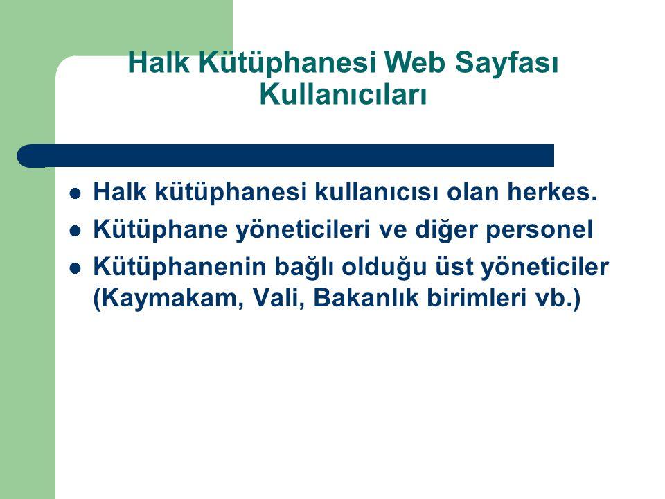 Halk Kütüphanesi Web Sayfası Kullanıcıları