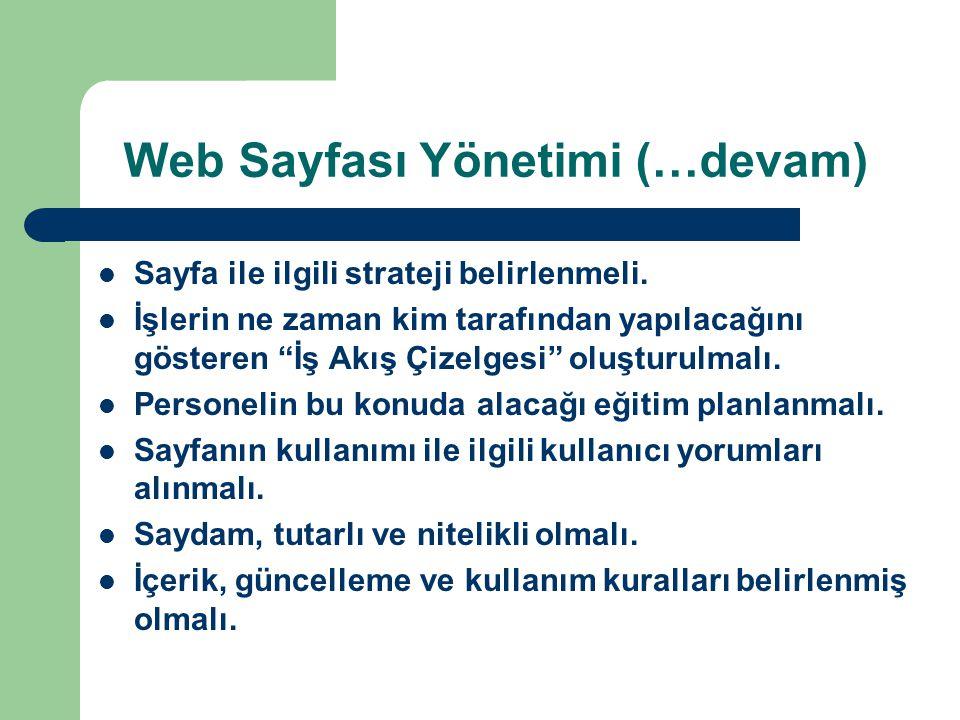 Web Sayfası Yönetimi (…devam)