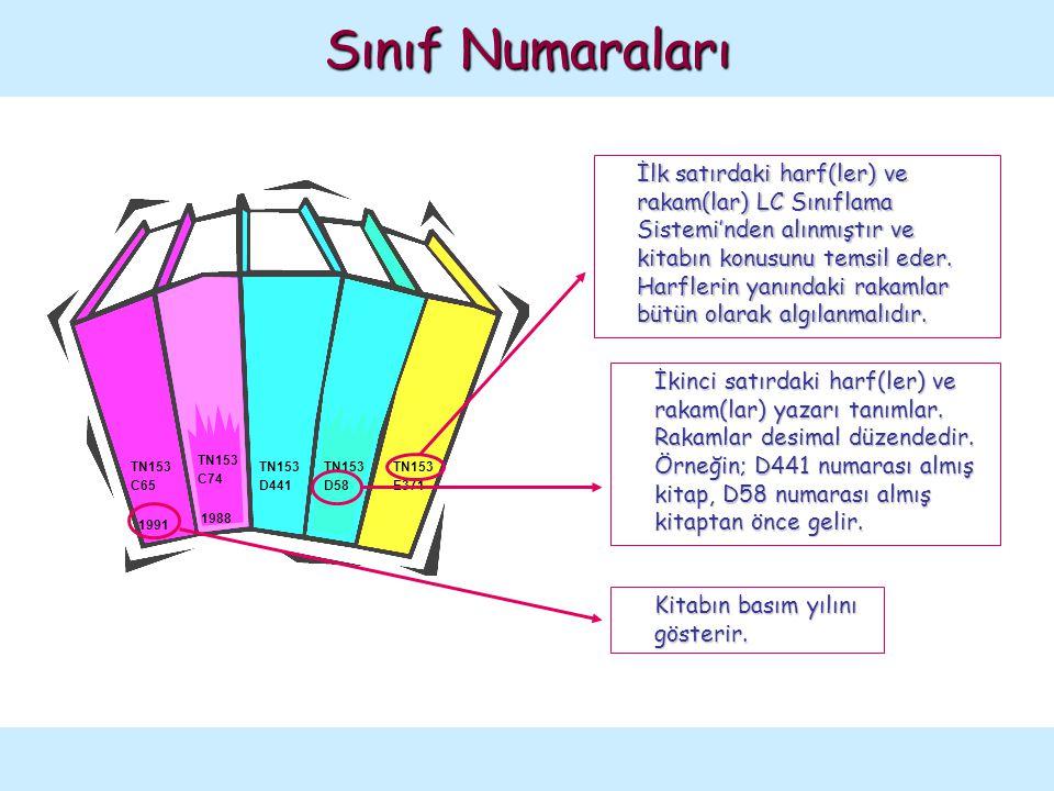 Sınıf Numaraları Aşağıdaki örnekler, kitapların rafta diziliş düzenini göstermek amacıyla verilmiştir: