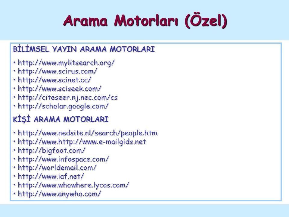 Meta Arama Motorları (Metasearchers / Crawlers)