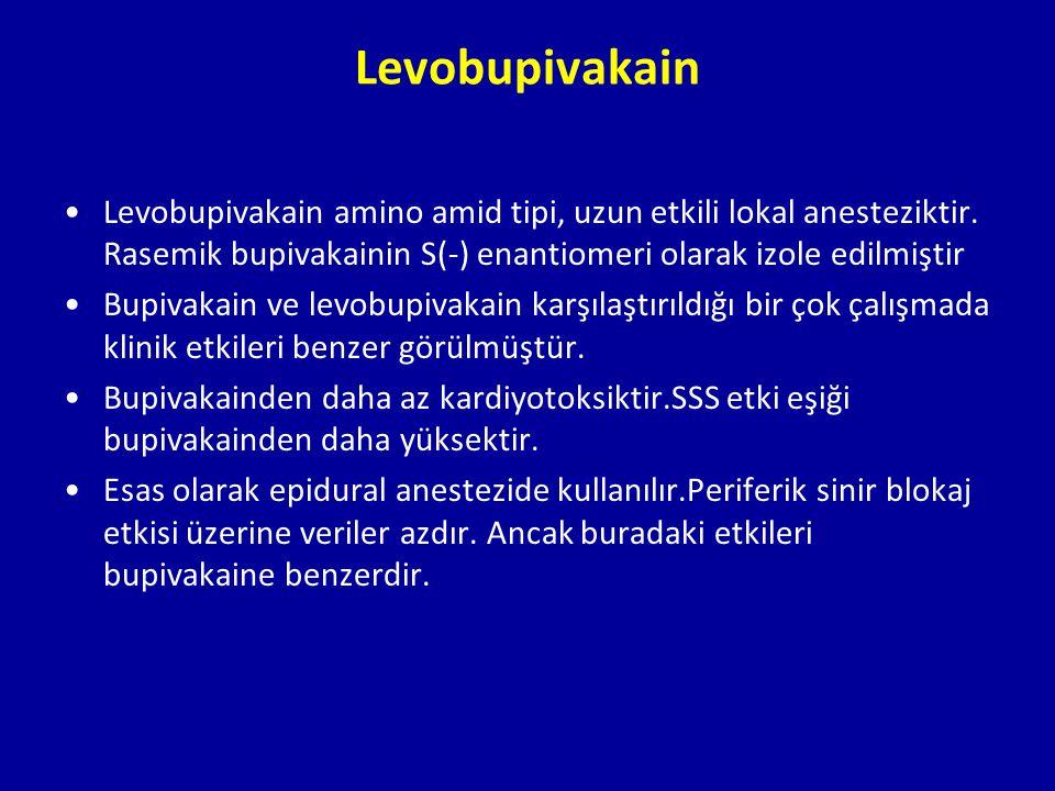 Levobupivakain Levobupivakain amino amid tipi, uzun etkili lokal anesteziktir. Rasemik bupivakainin S(-) enantiomeri olarak izole edilmiştir.