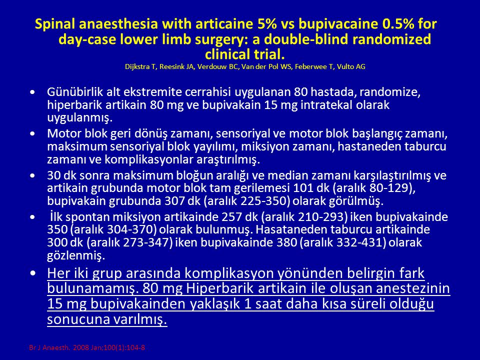 Spinal anaesthesia with articaine 5% vs bupivacaine 0