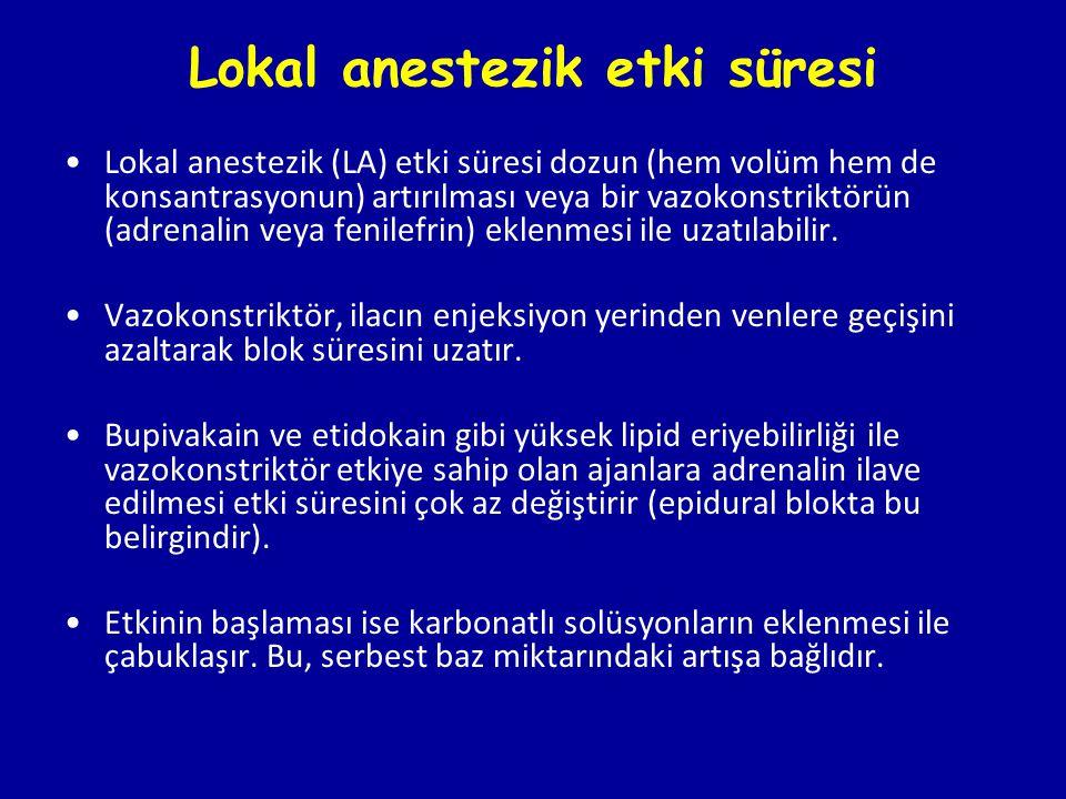 Lokal anestezik etki süresi
