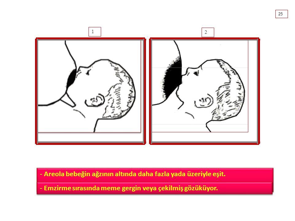 - Areola bebeğin ağzının altında daha fazla yada üzeriyle eşit.