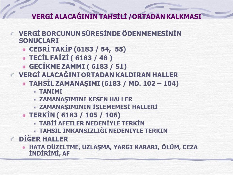 VERGİ ALACAĞININ TAHSİLİ /ORTADAN KALKMASI
