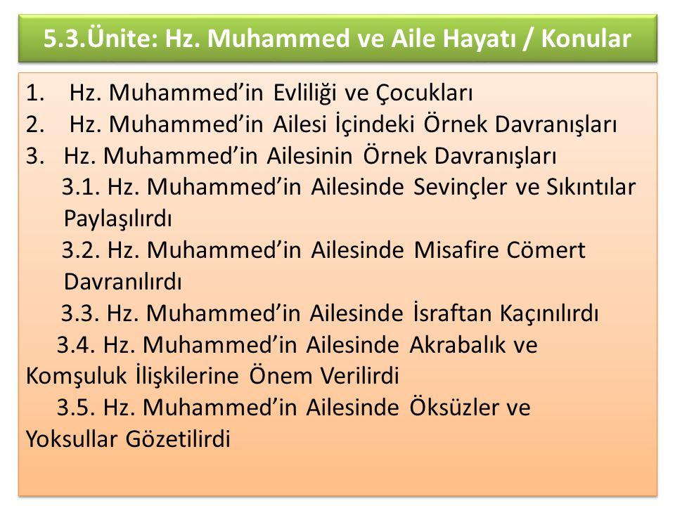 5.3.Ünite: Hz. Muhammed ve Aile Hayatı / Konular