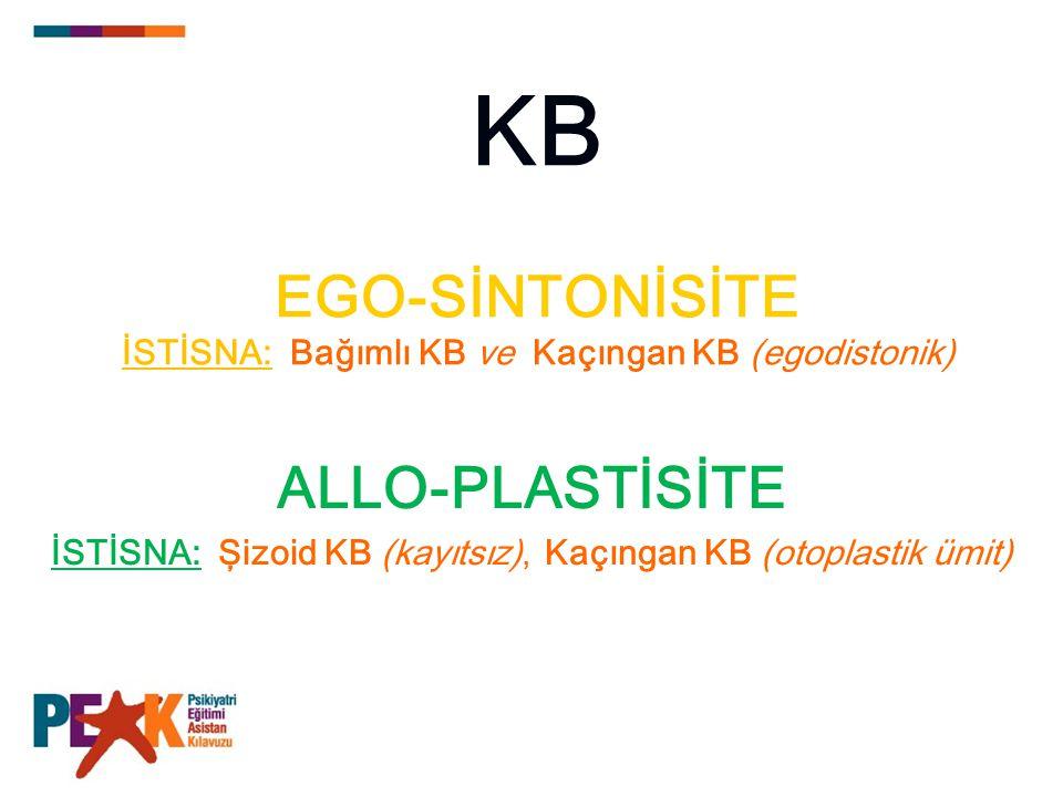 KB EGO-SİNTONİSİTE İSTİSNA: Bağımlı KB ve Kaçıngan KB (egodistonik)