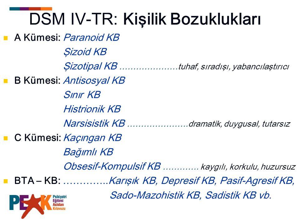 DSM IV-TR: Kişilik Bozuklukları