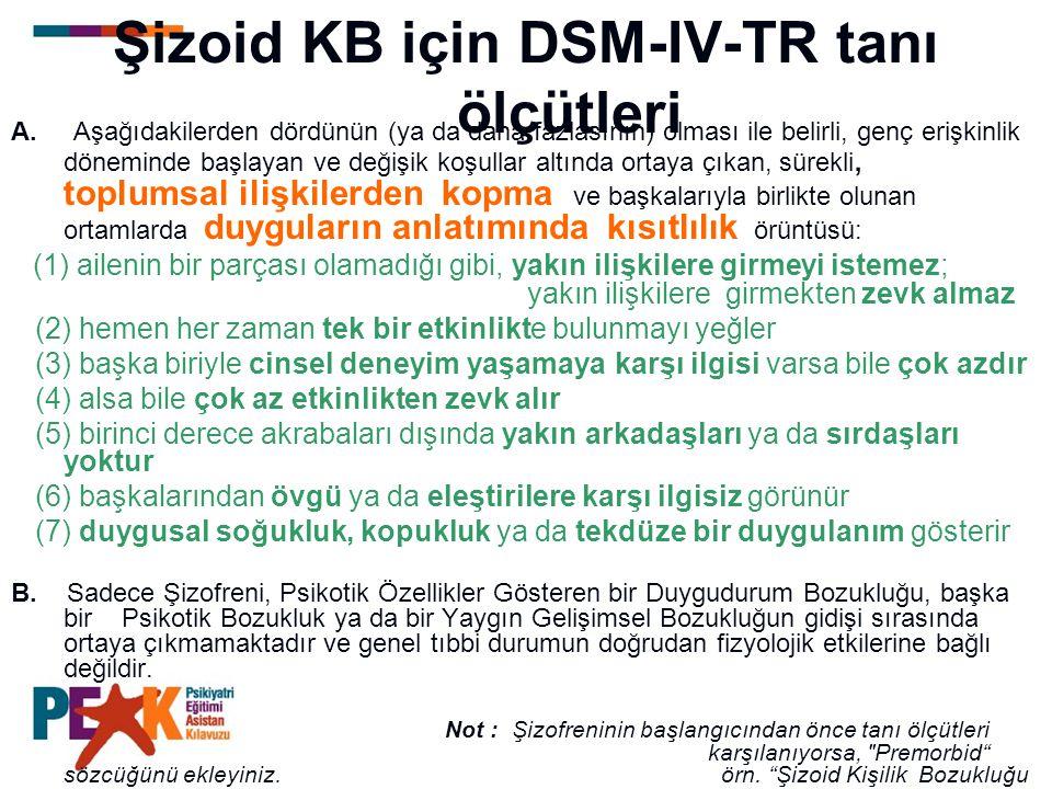 Şizoid KB için DSM-IV-TR tanı ölçütleri