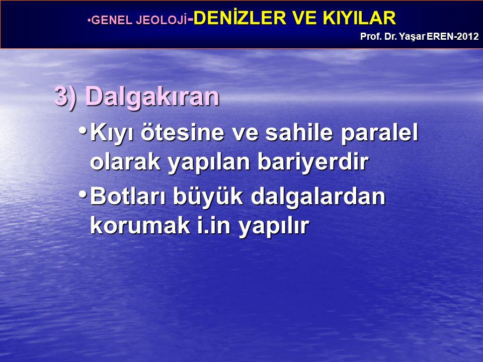 3) Dalgakıran Kıyı ötesine ve sahile paralel olarak yapılan bariyerdir