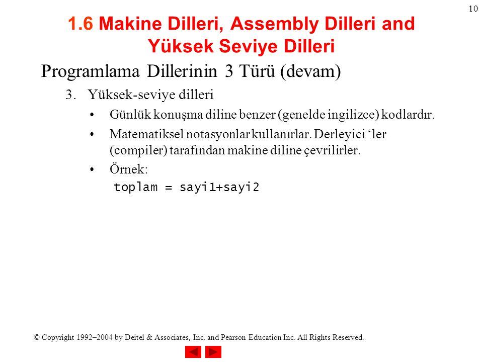 1.6 Makine Dilleri, Assembly Dilleri and Yüksek Seviye Dilleri
