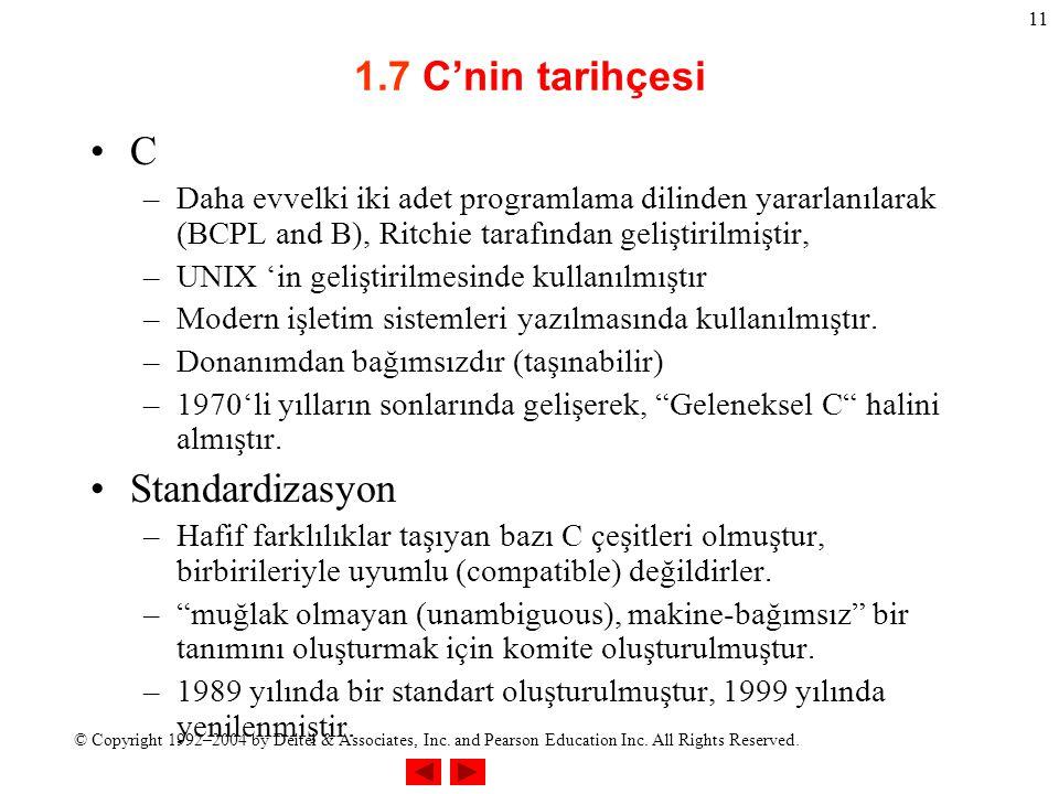 1.7 C'nin tarihçesi C Standardizasyon