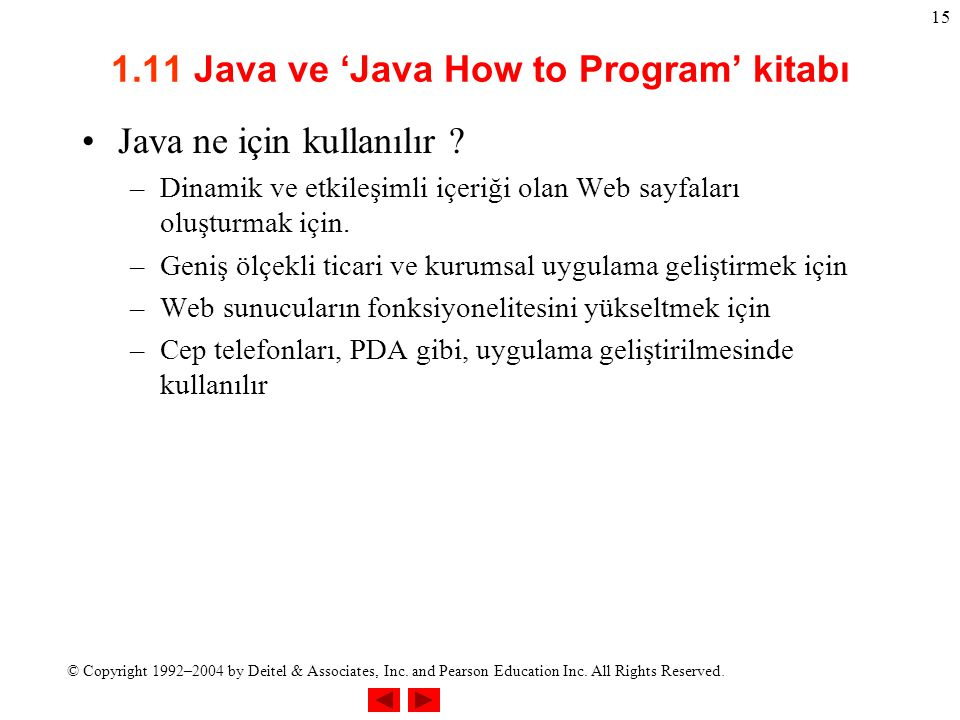 1.11 Java ve 'Java How to Program' kitabı