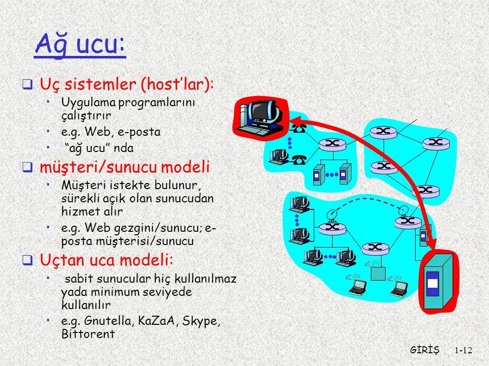 Ağ ucu: Uç sistemler (host'lar): müşteri/sunucu modeli