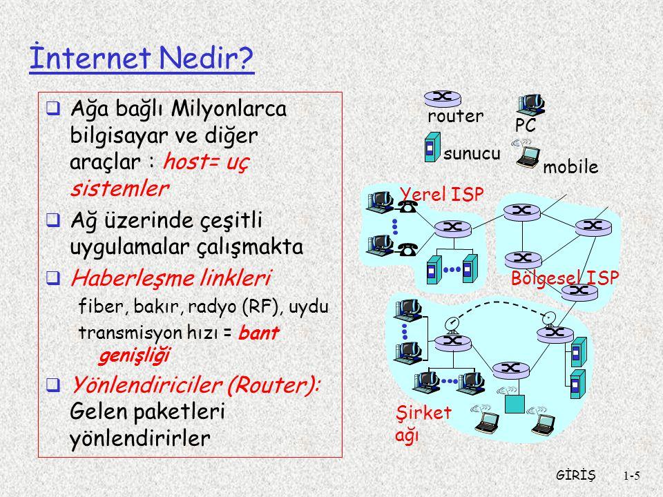 İnternet Nedir Ağa bağlı Milyonlarca bilgisayar ve diğer araçlar : host= uç sistemler. Ağ üzerinde çeşitli uygulamalar çalışmakta.