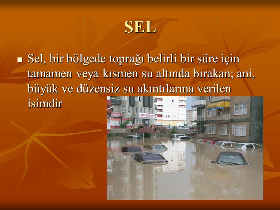 SEL Sel, bir bölgede toprağı belirli bir süre için tamamen veya kısmen su altında bırakan; ani, büyük ve düzensiz su akıntılarına verilen isimdir.