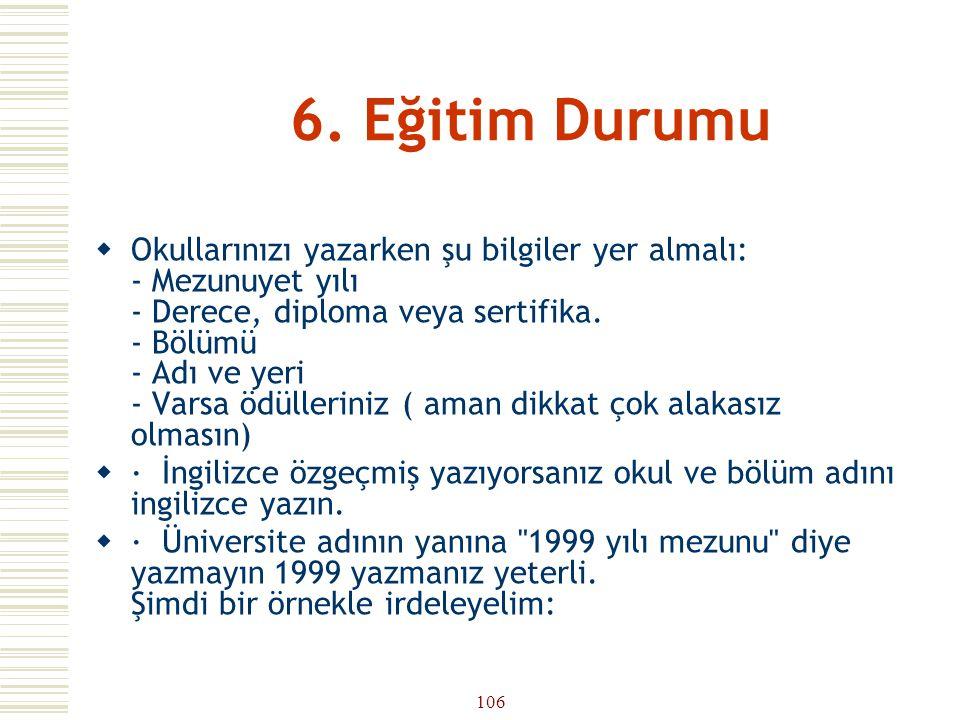 6. Eğitim Durumu