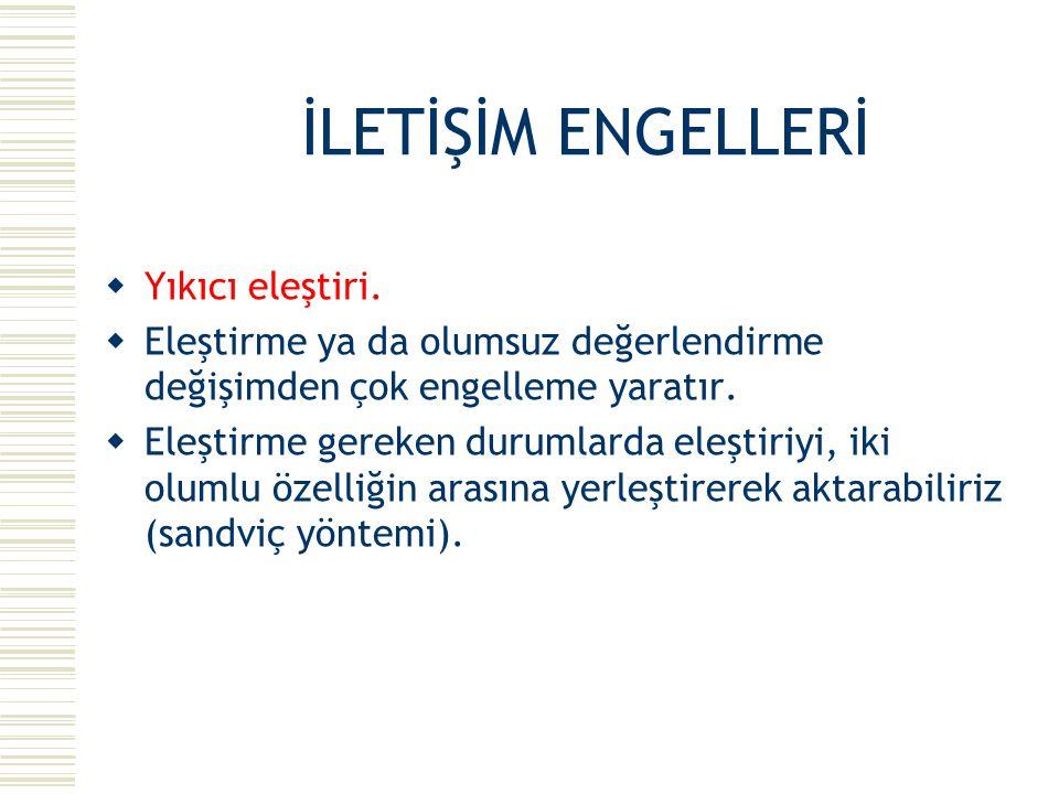 İLETİŞİM ENGELLERİ Yıkıcı eleştiri.