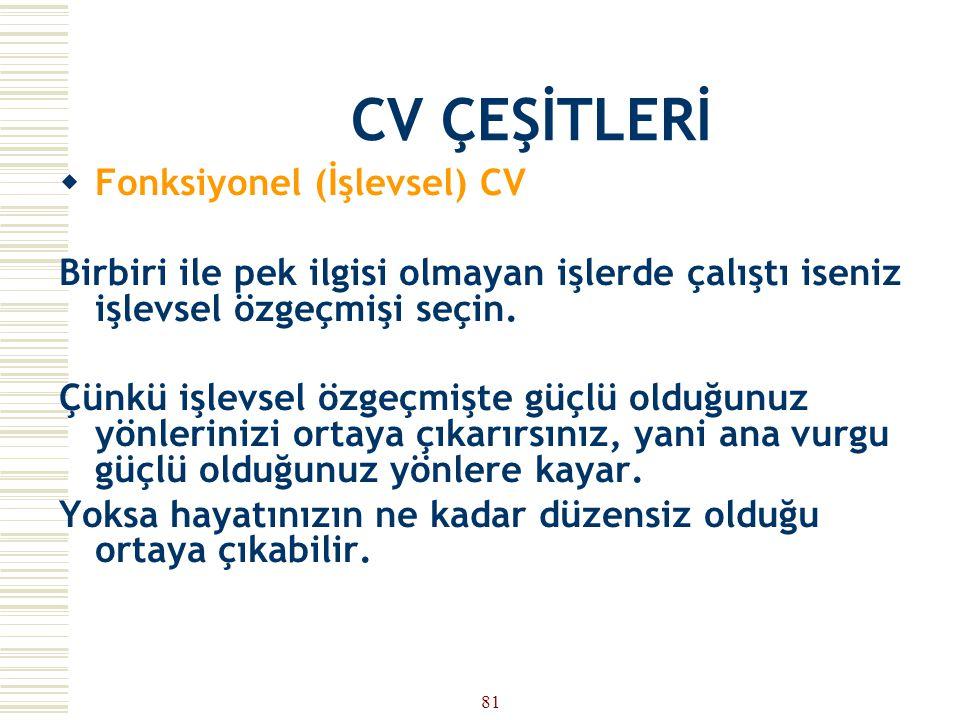 CV ÇEŞİTLERİ Fonksiyonel (İşlevsel) CV