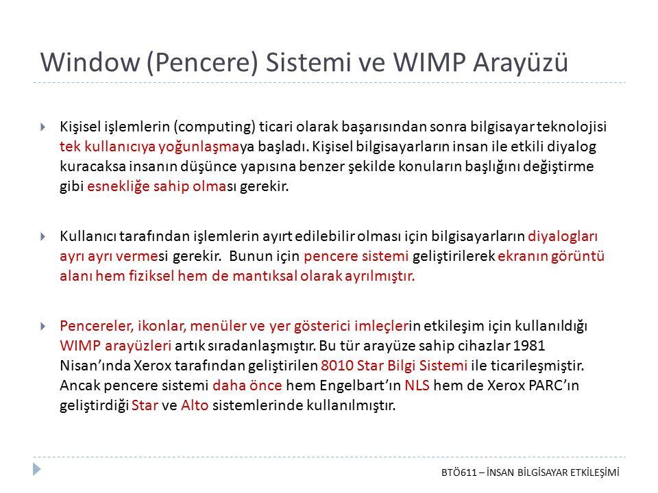 Window (Pencere) Sistemi ve WIMP Arayüzü