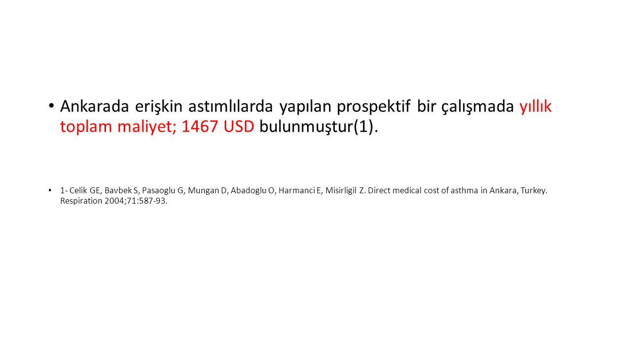 Ankarada erişkin astımlılarda yapılan prospektif bir çalışmada yıllık toplam maliyet; 1467 USD bulunmuştur(1).