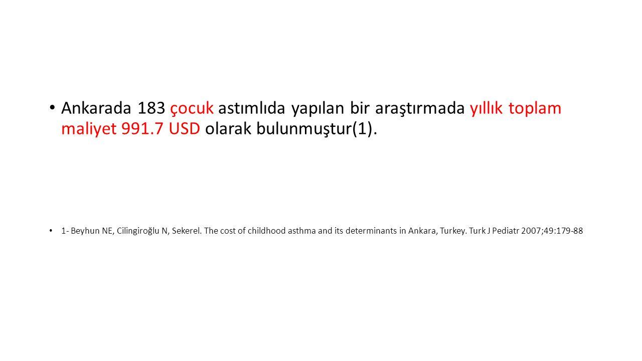 Ankarada 183 çocuk astımlıda yapılan bir araştırmada yıllık toplam maliyet 991.7 USD olarak bulunmuştur(1).