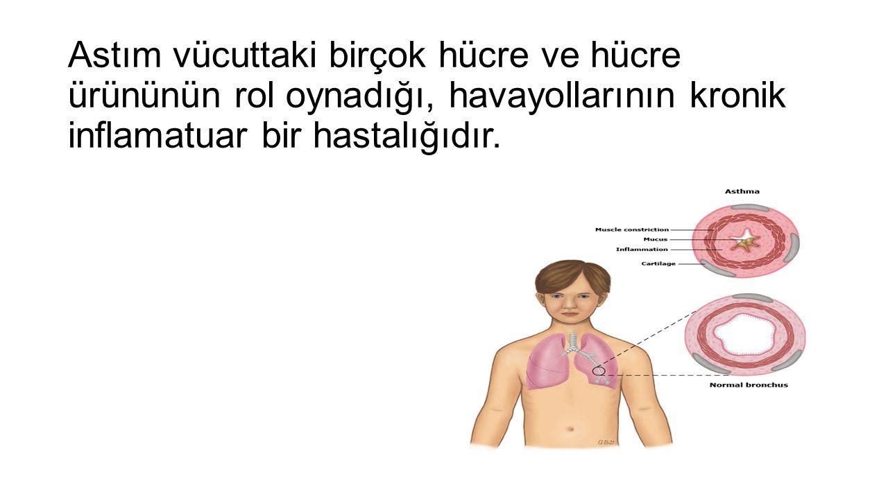 Astım vücuttaki birçok hücre ve hücre ürününün rol oynadığı, havayollarının kronik inflamatuar bir hastalığıdır.