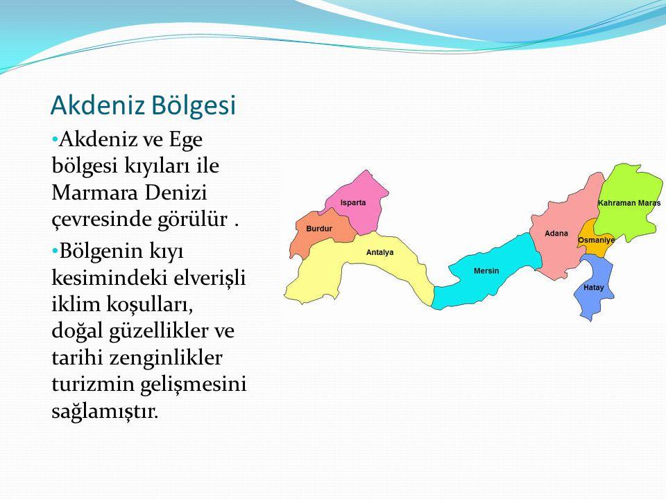 Akdeniz Bölgesi Akdeniz ve Ege bölgesi kıyıları ile Marmara Denizi çevresinde görülür .