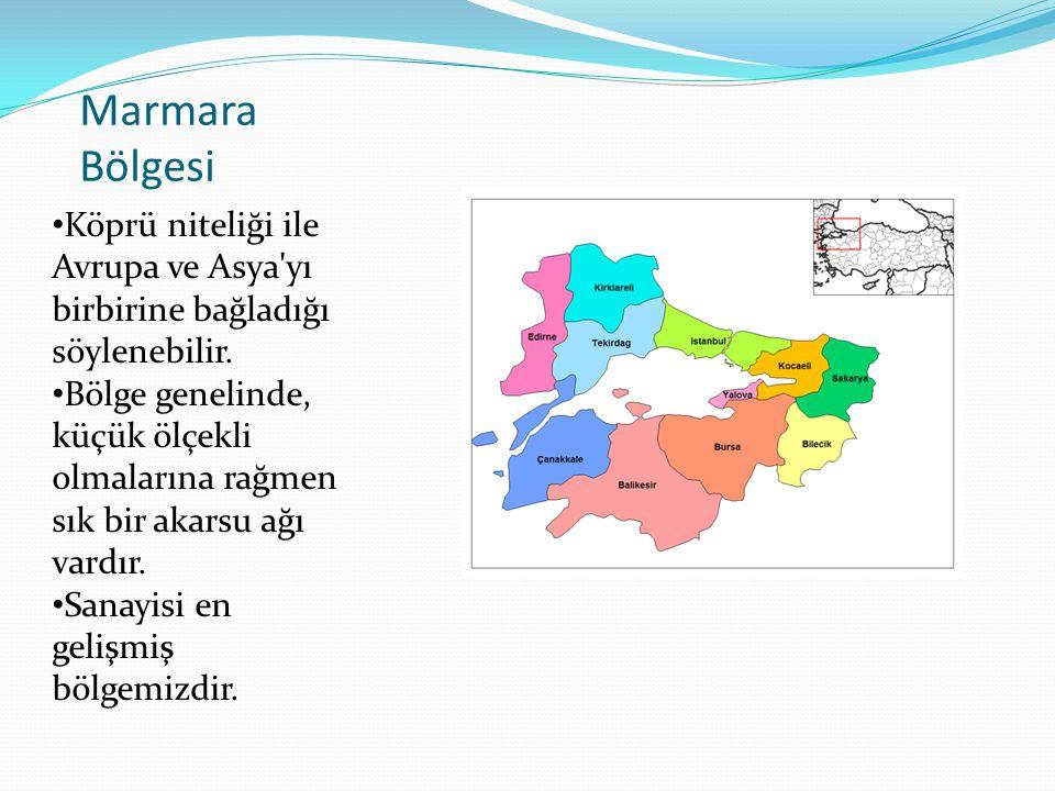 Marmara Bölgesi Köprü niteliği ile Avrupa ve Asya yı birbirine bağladığı söylenebilir.