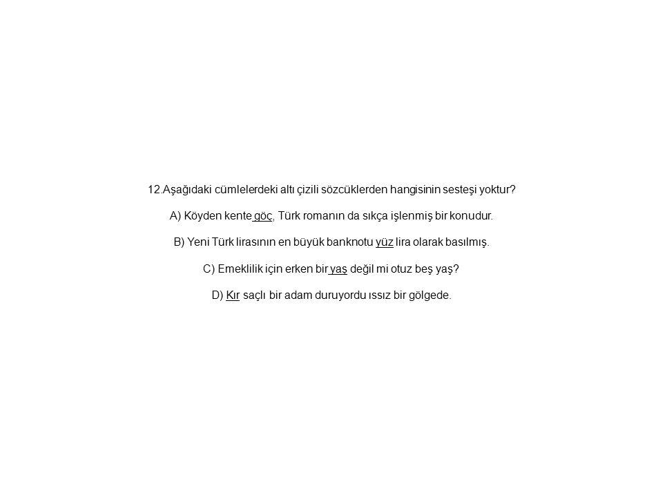 12.Aşağıdaki cümlelerdeki altı çizili sözcüklerden hangisinin sesteşi yoktur.