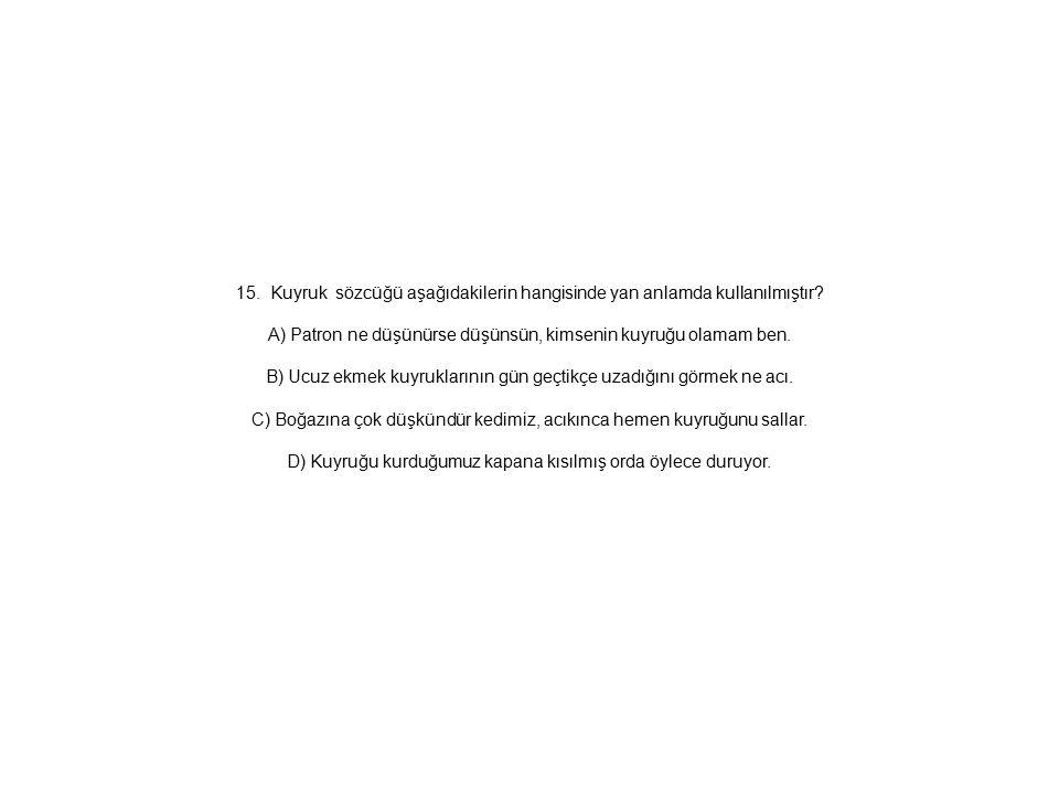 15. Kuyruk sözcüğü aşağıdakilerin hangisinde yan anlamda kullanılmıştır.