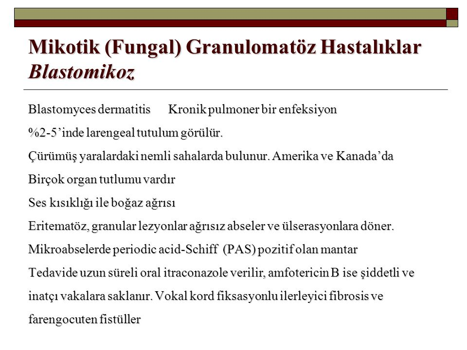 Mikotik (Fungal) Granulomatöz Hastalıklar Blastomikoz