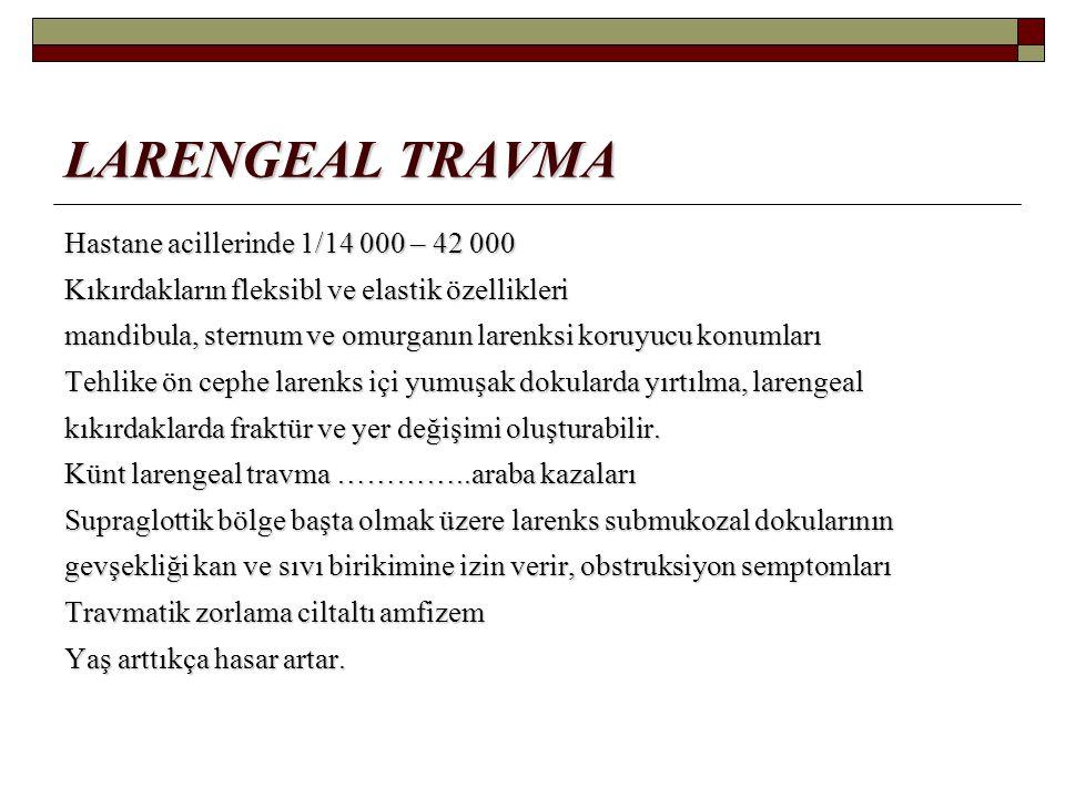 LARENGEAL TRAVMA Hastane acillerinde 1/14 000 – 42 000