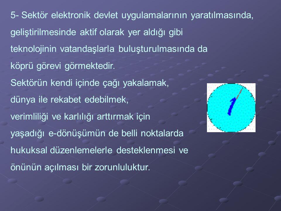 5- Sektör elektronik devlet uygulamalarının yaratılmasında,