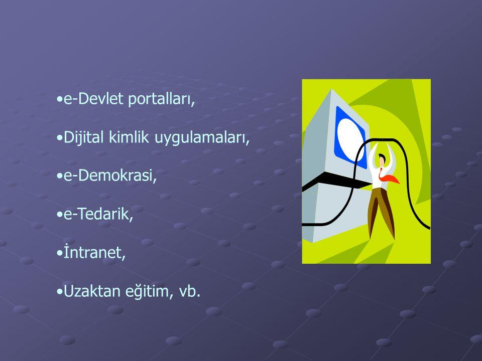 e-Devlet portalları, Dijital kimlik uygulamaları, e-Demokrasi, e-Tedarik, İntranet, Uzaktan eğitim, vb.