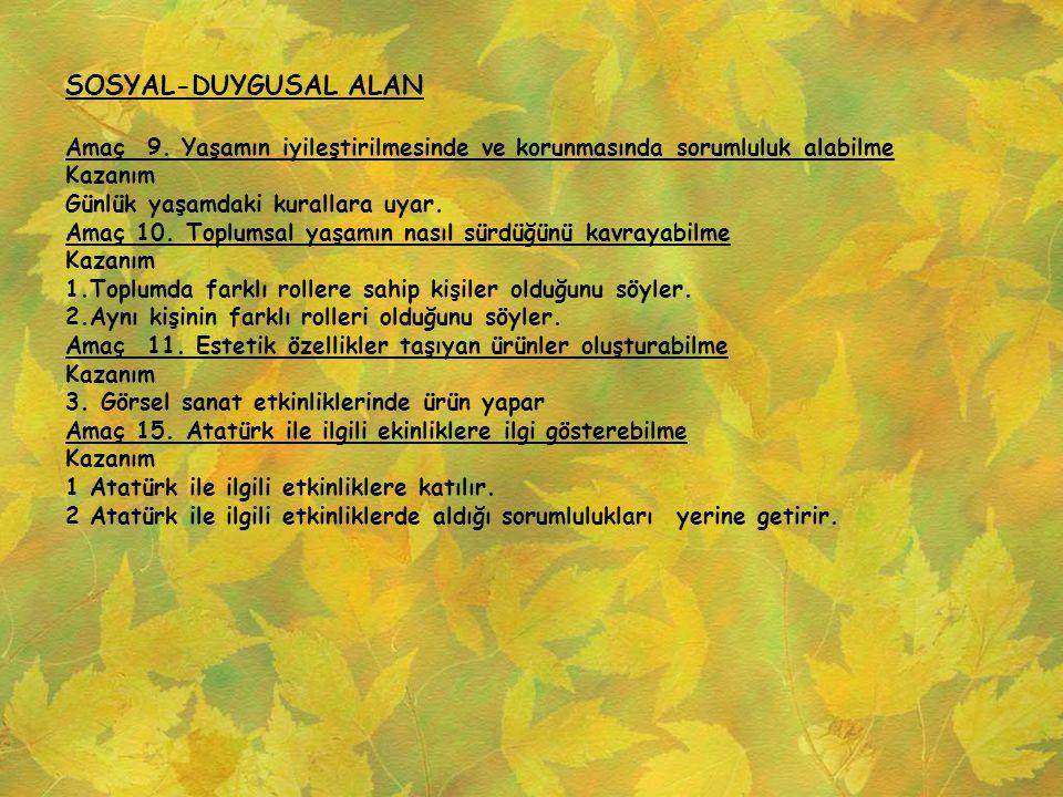 SOSYAL-DUYGUSAL ALAN Amaç 9. Yaşamın iyileştirilmesinde ve korunmasında sorumluluk alabilme. Kazanım.